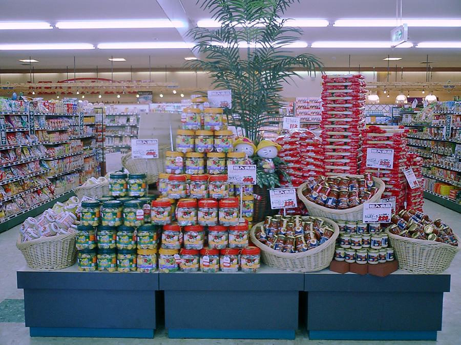 スーパーの商品陳列